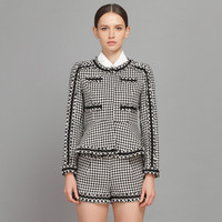 Houndstooth Long Sleeve Blouse And Short