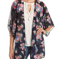 Floral Print Duster Kimono Top by Charlotte Russe - Navy Combo
