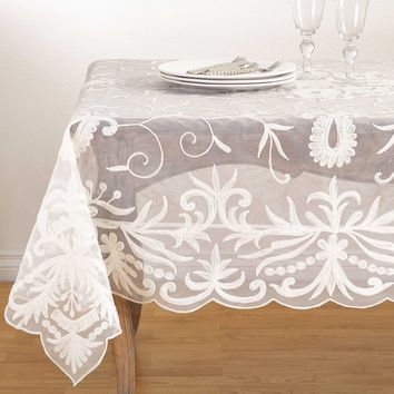 Floral Embroidered Tablecloth Square