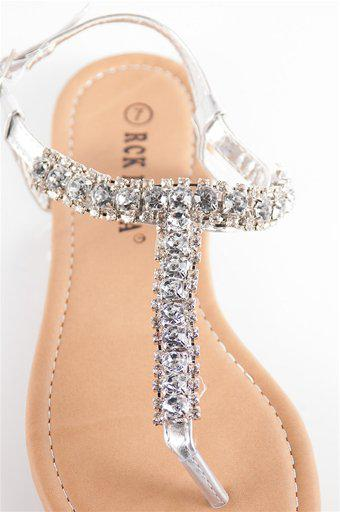 Jeweled Thong Sandals - Silvr at Lucky 21 Lucky 21