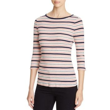 Three Dots Womens Ribbed Knit Striped Casual Top