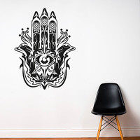 Wall Decal Vinyl Sticker Decals Art Decor Design Hamsa Hand Eye Indian Buddha Pattern Damask Mandala Ganesh Lotos Modern Bedroom Dorm (r299)