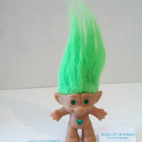 Vintage Troll Doll Green Hair Green Eyes Star Belly Button Retro Toy