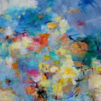 "Large Colorful Abstract Expressionist Painting, Cheerful, Light, Blue, Yellow, Intuitive Original Art ""It's a Beautiful Day"""
