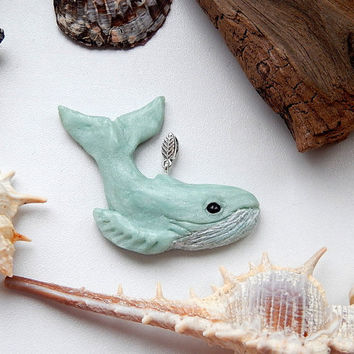 Whale pendant, whale jewelry, blue whale, ocean jewelry, sea creatures, whale necklace, Happy Whale, sea animals, whale of clay, whale totem