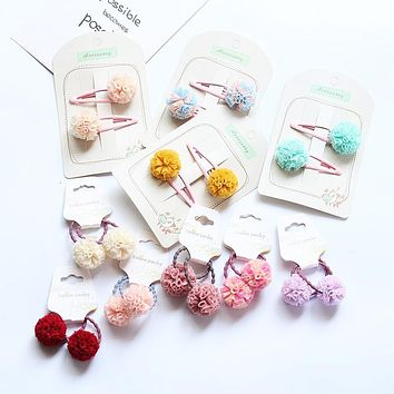 2pc/set Cute Colorful Lace Pom Pom Hair Tie Pink Ball Pompom Elastic Hair Band For Little Girls Kids HT086