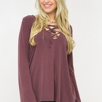 Bell Sleeve Corset Neck Top