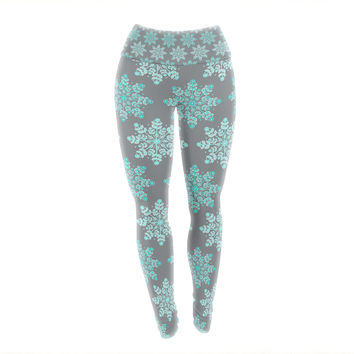 "Anchobee ""Blue Christmas"" Blue Gray Yoga Leggings"