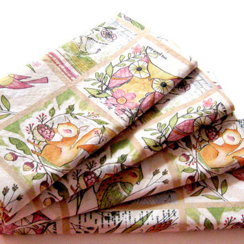 Cloth Napkins - Sets of 4 - Pink Beige Green Yellow Animals  - Dinner, Table, Everyday, Wedding