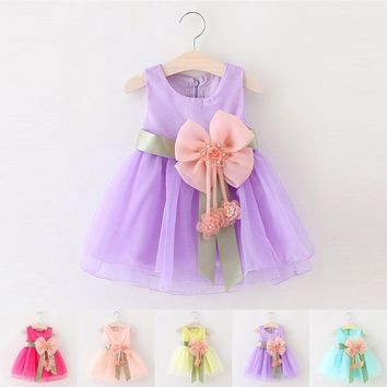 Infant Toddler Baby Kids Girls Summer Dresses Princess Party Wedding Bow Dress
