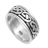 925 Sterling Silver Wicca Pagan Celtic 9MM Spinner Ring