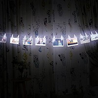 Glamouric Photo Clip String Lights Kit-Indoor/Outdoor Christmas Lights 16 Clips/LEDs 4,5 Meter/15 Feet Battery Powered Perfect for Hanging Pictures Artwork Display Notes(White lights)