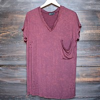oversize distressed tee - vintage burgundy acid wash