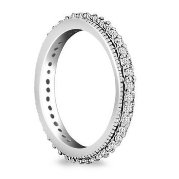 14K White Gold Pave Set Round Cut Diamond Eternity Ring with Milgrained Edging, size 7