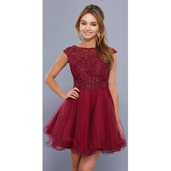 Cap Sleeves Poofy Short Homecoming Dress Appliqued Bodice Burgundy
