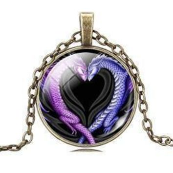Dragon Lovers Heart Pendant Necklace
