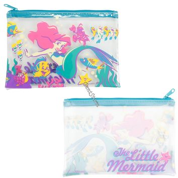 Licensed cool Ariel Mermaid Gang Friends Clear Pencil Case Cosmetic Tote Bag Disney Loungefly