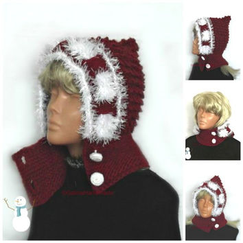 Christmas Pixie Hat,Santa Pixie Hat,Children Cranberry Red Pixie Hat , Kids Fall Winter Hat,Hooded Cowl,Knit Ear Flap Hat,Elf Pixie Hat,Red