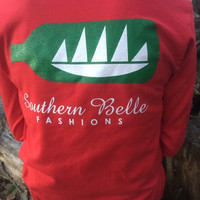 Red and Green Long Sleeve Logo Tee
