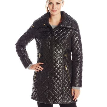 Via Spiga Women's Lightweight Quilted Jacket With Side Tabs Black Large