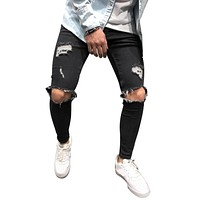 VERTVIE Skinny Ripped Jeans For Men Male Ripped Motorcycle Denim Pants Fashion Brand Swag Hole Hip PopBiker Jeans