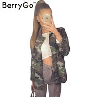 BerryGo pocket camouflage jacket coat Autumn winter oversized jacket women Casual button unlined outerwear basic jackets veste