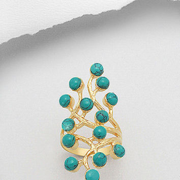 The Tashina Semi Precious Gem Stome Tree Branch 18K Yellow Gold Over Brass Ring