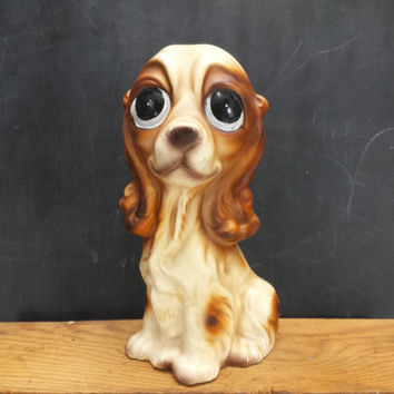 Cocker Spaniel Figurine Vintage Big Eyes Ceramic Dog Statue Decor Animal Puppy Lover Gift Collectible Large Sad Eyed Made in Japan Elbro
