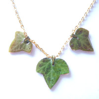 Real Ivy leaf pendant, three green leaves, woodland jewelry, real pressed leaves