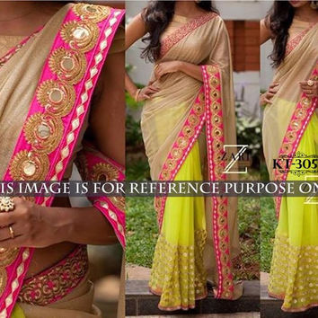 Yellow Lycra Silk Georgette Indian Bollywood Sarees