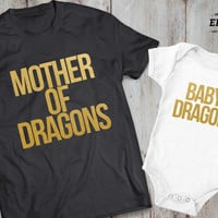 Mother of dragons baby dragon matching mother baby outfit,matching mother daughter shirts,matching mother son shirts,matching outfits,UNISEX