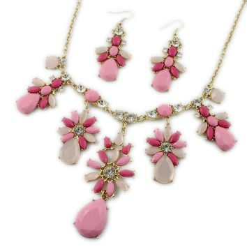 New European and American jewelry pink gemstone flower necklace female flash diamond earrings set exquisite jewelry accessories accessories IT