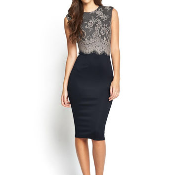 Black Lace Sleeveless Bodycon Midi Dress