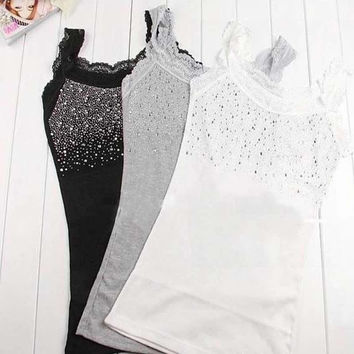 Women's Rhinestone Sequin Lace Tank Top Sling Camisole