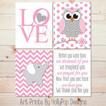 Girl Nursery Art Girls Room Wall Decor Owl Art Print Elephant Nursery Wall Art Pink Gray Girl Nursery Art Prints Before you were born #1265