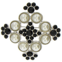 Art Deco Nouveau Brooch Silver Black White Crystal Glass Pearl Pin p298s