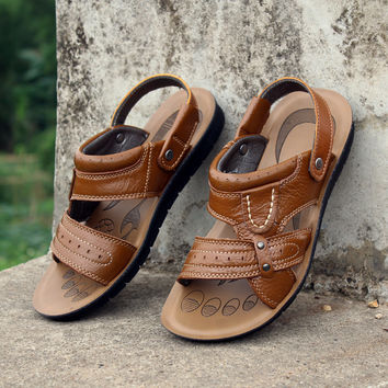 Mens Leather Sandals Beach Slippers