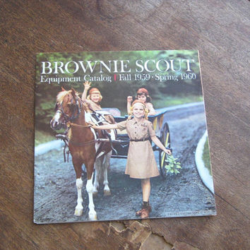 Vintage Brownie Scout Catalog; 1959-'60/Midcentury Scout Equipment; Products; Order Form; Colorful Product Shots; Fun Retro Girl Gift