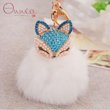 Onnea Chaveiro keychain Fur Pom Pom Key chain Faux Fox Hair Bulb Bag Car Ornaments Rabbit fur Ball Pendant Key Ring