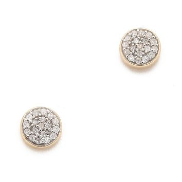 Solid Pave Disc Earrings
