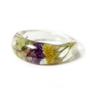 Purple Ring- Green Ring- Yellow Flower Ring- Flower Resin Ring -Resin Jewelry- Purple Ring- White Jewelry -Green Jewelry