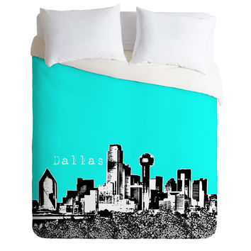 Bird Ave Dallas Aqua Duvet Cover