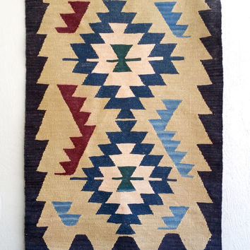 Vintage Rug, Handmade Native Wool Rug; Industrial Bohemian Rustic Decor