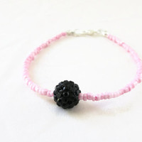 Pink and black stacking bracelet , baby pink seed bead with glittery black shamballa bead beaded simple bracelet , uk seller
