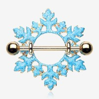 A Pair of Golden Glam Snowflake Nipple Shield Ring