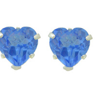 2 Carat Tanzanite Heart Stud Earrings .925 Sterling Silver Rhodium Finish