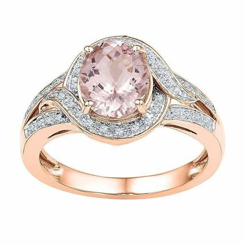 10k Rose Gold Women's Oval Morganite Solitaire Diamond Ring - FREE Shipping (US/CA)
