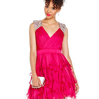 As U Wish Juniors Dress, Sleeveless Ruffled Rhinestone - Juniors Homecoming Dresses - Macy's