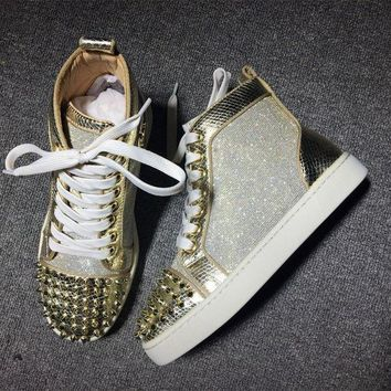 DCCK Cl Christian Louboutin Lou Spikes Style #2177 Sneakers Fashion Shoes