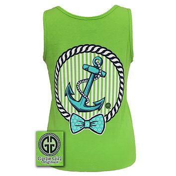 Girlie Girl Originals Collection Anchor Bow Logo Bright Comfort Colors Lime Tank Top Shirt